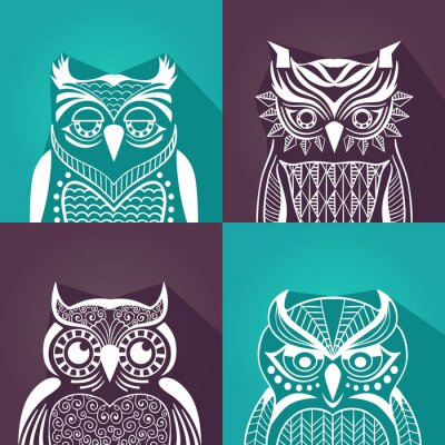 Cuadro Un conjunto de retratos gráficos planos de búhos. ilustración vectorial