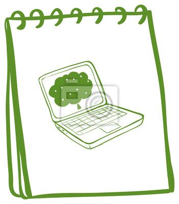 Un Cuaderno Verde Con Un Dibujo De Un Ordenador Portatil Pinturas