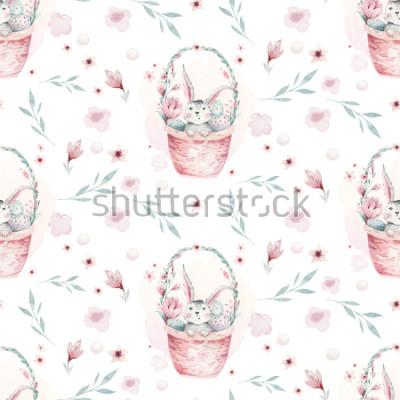 Cuadro Un ejemplo de la primavera de la acuarela del conejito lindo del bebé de pascua. Conejo de dibujos animados animal de patrones sin fisuras con cesta