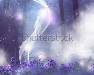Cuadro Un fondo de fantasía con flores moradas y efectos mágicos.