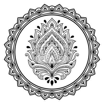 Un Modelo Circular En Forma De Una Plantilla De La Flor Del Tatuaje