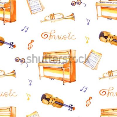 Cuadro Un patrón sin fisuras con instrumentos musicales dibujados a mano sobre una textura de fondo de acuarela.