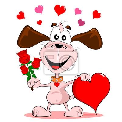 Cuadro Un Perro De Dibujos Animados Con Rosas Rojas Y Amor Del Corazon
