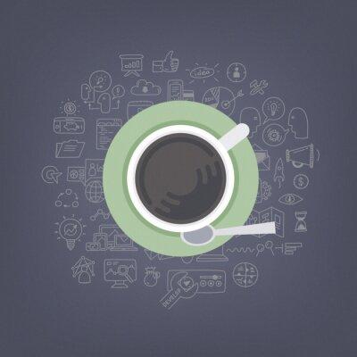 Cuadro Una lluvia de ideas con el ejemplo del café