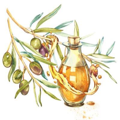 Cuadro Una rama de aceitunas verdes maduras es jugosa servida con aceite. Gotas y salpicaduras de aceite de oliva. Ilustración acuarela y botánica aislada sobre fondo blanco.