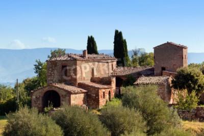 Cuadro Una residencia en Toscana, Italia. Típico para la región granja toscana, colinas, cipreses. Italia