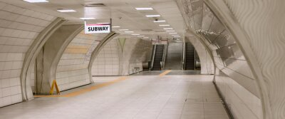 Cuadro Underground subway station hallway tunnel with escalator. Abstract perspective view