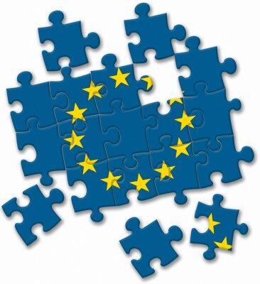 Cuadro Unión Europea UE rompecabezas de la bandera en el fondo blanco