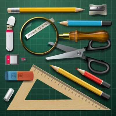 Cuadro Útiles escolares colorido, vector Eps10 ilustración.