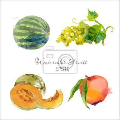 Cuadro uva, melón, melocotón, sandía