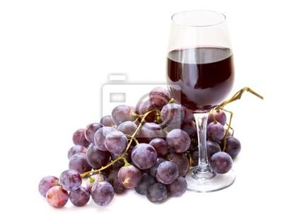 uva roja con vaso de vino