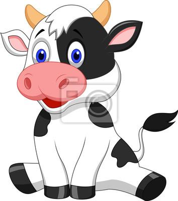 Vaca linda sesión de dibujos animados pinturas para la pared ...