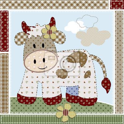 Vaca patchwork pinturas para la pared • cuadros cerco, buey, labor ...