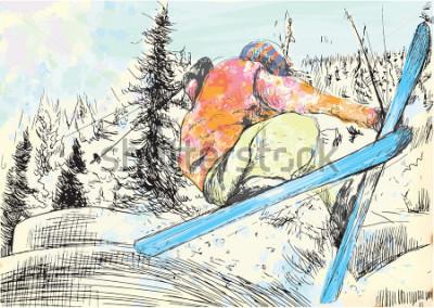 Cuadro Vacaciones de invierno - esquiador. Vector varias capas dibujadas a mano ilustraciones. Al menos cuatro capas en cada imagen. Las capas de color es un máximo de dieciséis colores. Contornos negros