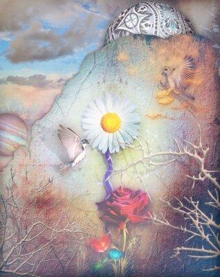 Cuadro Valle de los sueños con flores de colores serie