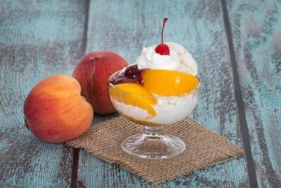 Cuadro Vanilla peach melba ice cream with peach fruits on wooden vintag