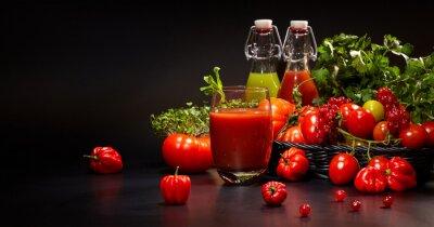 Cuadro Vasos, fresco, orgánico, vehículo, fruta, jugos, aislado