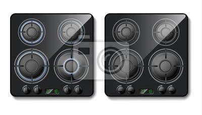 Cuadro Vector 3d realista estufa de gas. Parte superior de la cocina negra con quemadores con llama, fogones con fuego. Electrodomésticos inteligentes, tecnología moderna. Encendido o apagado del equipo domé