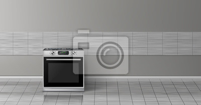 Cuadro Vector 3d realista simulacro con estufa de acero plateado moderno aislado en la pared de azulejo gris. Aparato inteligente con pantalla en la cocina, fondo para el diseño. Plantilla decorativa con hor
