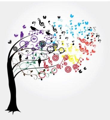 Vector árbol Con Notas Musicales Pinturas Para La Pared Cuadros