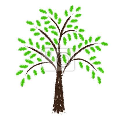Vector árbol Estilizado Con Hojas Verdes Tiza Dibujar Pinturas Para