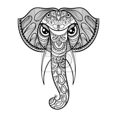 Vector cabeza ornamental de elefante, mascota étnica zentangled ...