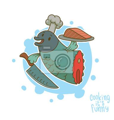 Vector Cocinar Es Divertido Pescado Imagen De Dibujos Animados