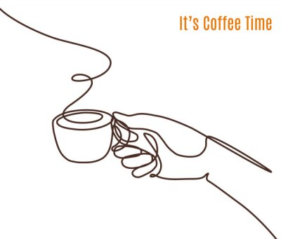Cuadro Vector coffee illustration drawn with one line. Hand with a cup of coffee.