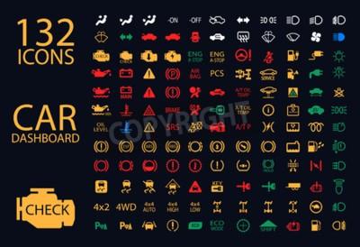 Cuadro Vector colección de indicadores de tablero de instrumentos de coche, amarillo rojo verde azul indicadores 132 iconos