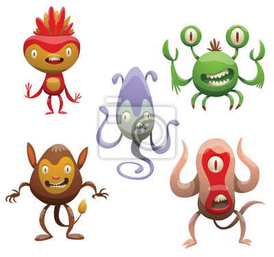 vector conjunto de cinco monstruos divertidos de dibujos animados