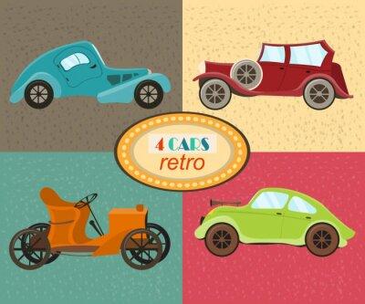 Cuadro Vector conjunto de cuatro coches retro. Vehículos de tráfico urbano. Iconos que ofrecen los coches modernos y retros, coche pasado de moda del vintage. Multicolores coches retro. Aislado. Ilustración