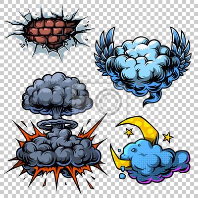 Cuadro Vector conjunto de iconos de cómics de color.