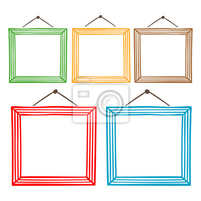 Vector conjunto de marcos de cuadros colgantes, dibujado a mano ...