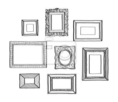 Vector conjunto de marcos de fotos de época, estilo de dibujo ...