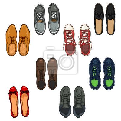 Cuadro: Vector conjunto de zapatos de color de dibujos animados items.