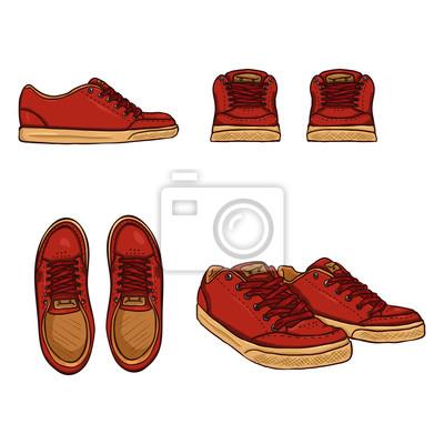 Cuadro: Vector conjunto de zapatos patinadores de dibujos animados. vista