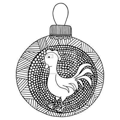 Vector de año nuevo, mariquita de zen de pollo y doodle de zen ...