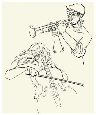 Cuadro Vector de boceto de músicos.