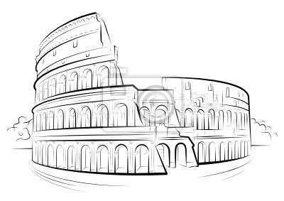 Vector De Dibujo En Blanco Y Negro Coliseo Roma Italia Pinturas