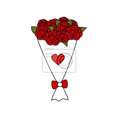 Cuadro Vector De Dibujos Animados Lindo Bouquet De Rosas Rojas Encantador