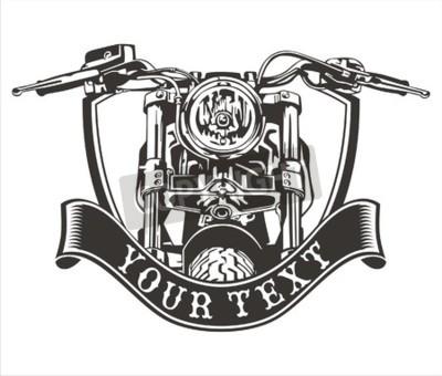 Cuadro Vector de diseño vintage motocicleta con una cinta de abajo