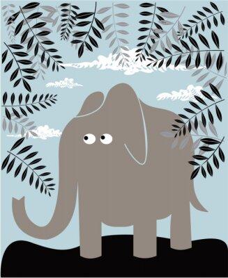 Cuadro Vector de fondo con el elefante y el follaje