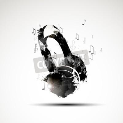 Cuadro Vector de fondo de acuarela abstracta de auriculares