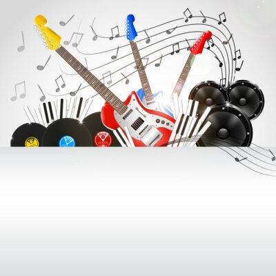 Cuadro Vector de fondo de la música con Instrumentos y equipo de música