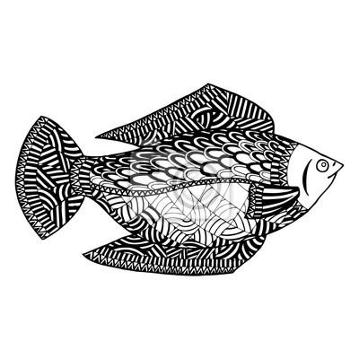 Vector De Los Pescados Enredo Del Zen De Los Pescados Y Doodle