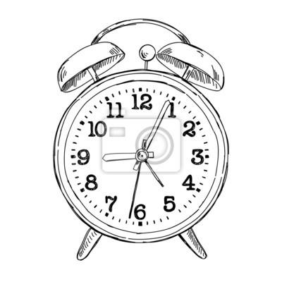 A Dibujado Mano Reloj Despertador Boceto CuadroVector xoQeWErdCB