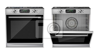 Cuadro Vector el horno compacto realista 3d, estufa de gas con la puerta abierta y cercana aislada en el fondo blanco. Electrodoméstico con pantalla digital, quemadores, temporizador, programas de cocina, pa