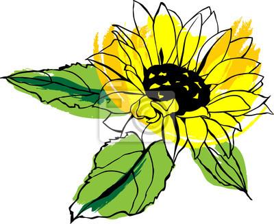 Vector Escalable De Dibujo De Girasol Amarillo Con Hojas Verdes