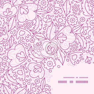 Vector flores rosadas marco lineart esquina patrón de fondo pinturas ...