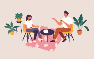 Cuadro Vector illustration couple sitting at the table, drinking tea or coffee and talking. Romantic date in a cafe.